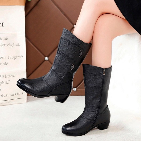 Fashion Ladies Knee High Winter Boots Soft Leather Boots Woman Black Zip Warm Women Thigh High Round Toe Boots Shoes Extra Image 3