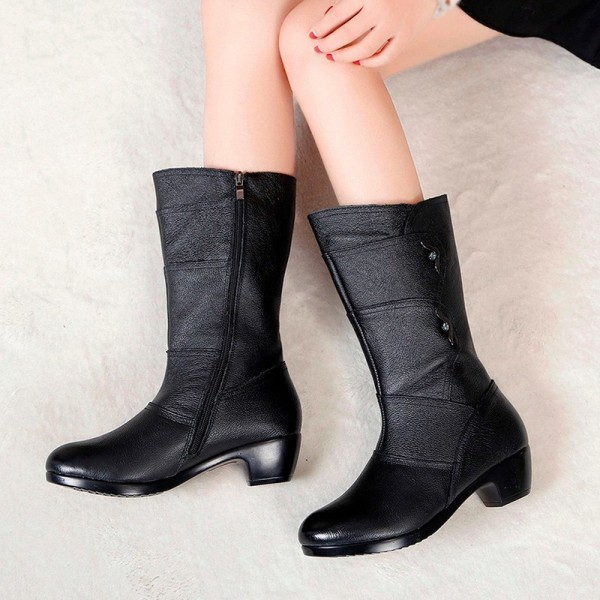 Fashion Ladies Knee High Winter Boots Soft Leather Boots Woman Black Zip Warm Women Thigh High Round Toe Boots Shoes Extra Image 4