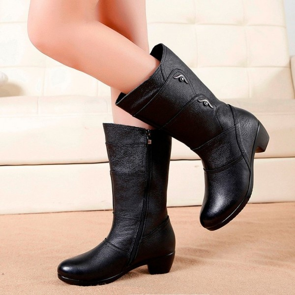 Fashion Ladies Knee High Winter Boots Soft Leather Boots Woman Black Zip Warm Women Thigh High Round Toe Boots Shoes Extra Image 5