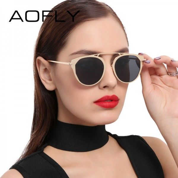 bd0af36236 Buy Fashion Lady Cat Eye Sunglasses Brand Designer Metal Frame Sun Glasses  Women Coating Mirror Shades Oculos Lunette