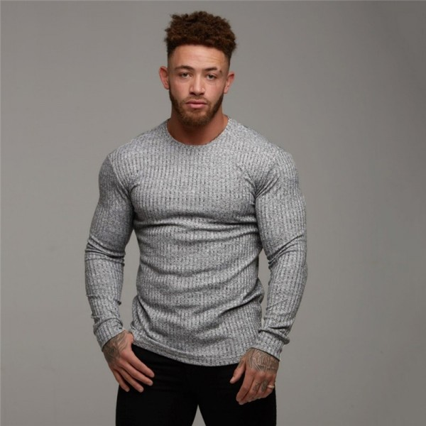 Fashion Mens T shirt Sweater O Neck Slim Fit Knitwear Mens Long Sleeve Pullovers Tshirts Men Fitness Pull Homme