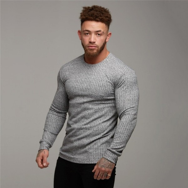 Fashion Mens T shirt Sweater O Neck Slim Fit Knitwear Mens Long Sleeve Pullovers Tshirts Men Fitness Pull Homme Extra Image 2