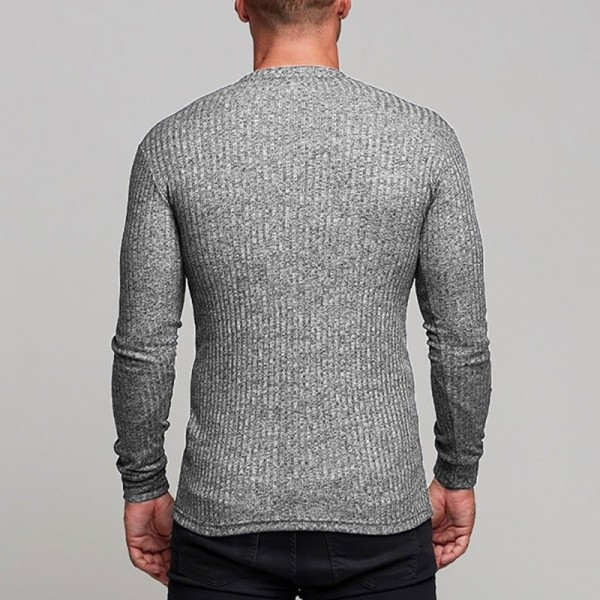 Fashion Mens T shirt Sweater O Neck Slim Fit Knitwear Mens Long Sleeve Pullovers Tshirts Men Fitness Pull Homme Extra Image 4