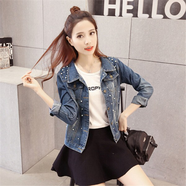 Fashion New Autumn Casual Beading Denim Jacket Plus Size Long Sleeve Vintage Short Jeans Jacket Women Denim Coat Extra Image 2