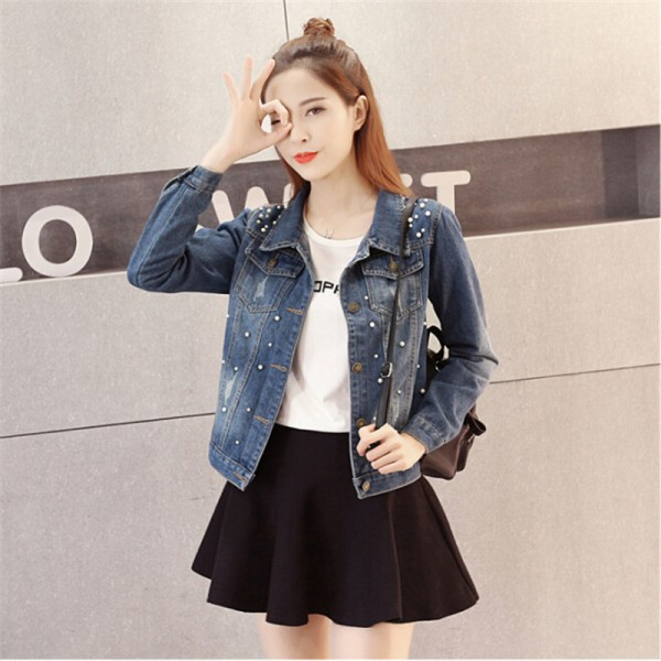 Fashion New Autumn Casual Beading Denim Jacket Plus Size Long Sleeve Vintage Short Jeans Jacket Women Denim Coat Extra Image 6
