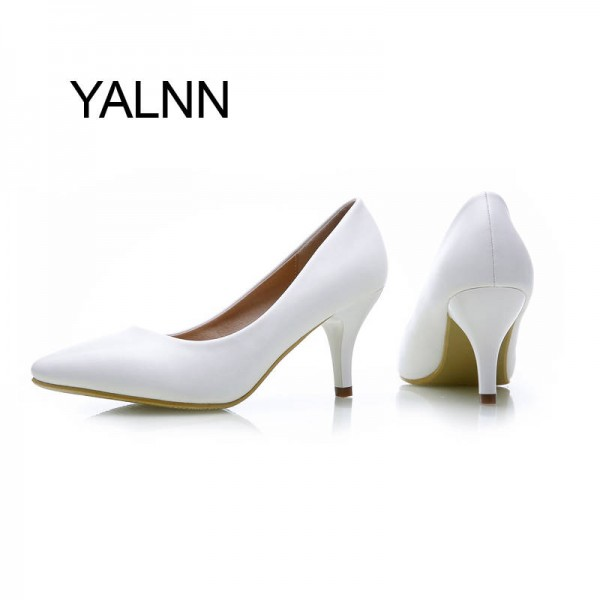 Fashion New High Heel Pumps Leather Thick Heel New Style For Women Thumbnail