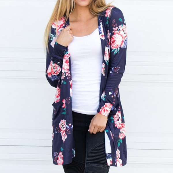 Fashion New Woman Jacket Coat Long Sleeve Floral Cardigans Jackets Loose Coat Outwear Women Clothing Outfit Extra Image 4