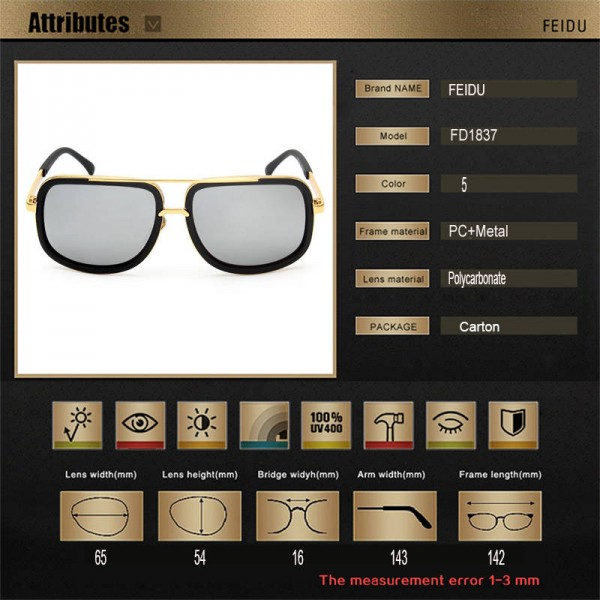 Fashion Rectangle Sunglasses For Men Coated Mirror Classy Authentic Eyewear Adult Stainless Steel Goggles Extra Image 5