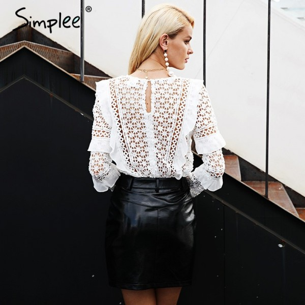 Fashion Ruffle lace blouse shirt women Hollow out floral white blouse female tops Elegant fashion chiffon blouse autumn Extra Image 2