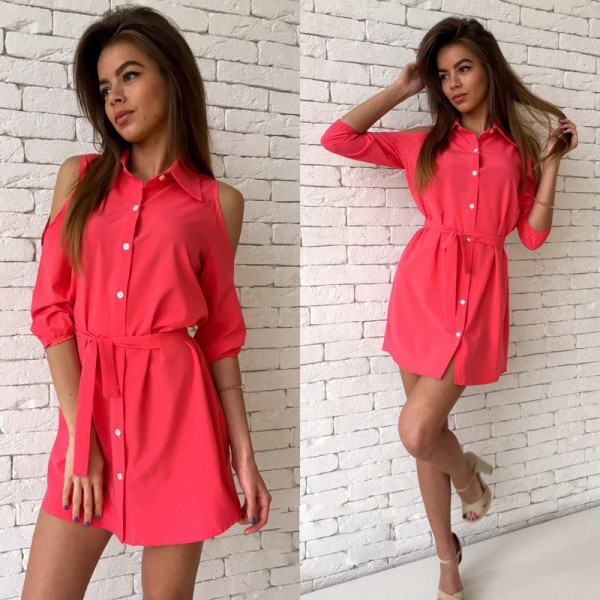Fashion Shirt Dress Women Sexy Mini Dress Cold Shoulder Women Dress Bandage Turn Down Collar Slim Button Casual Dress Extra Image 5