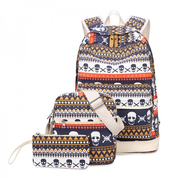 Fashion Skull Printed Backpacks Teenage Canvas School Bags Designer Female Large Capacity Travel Ladies Bags