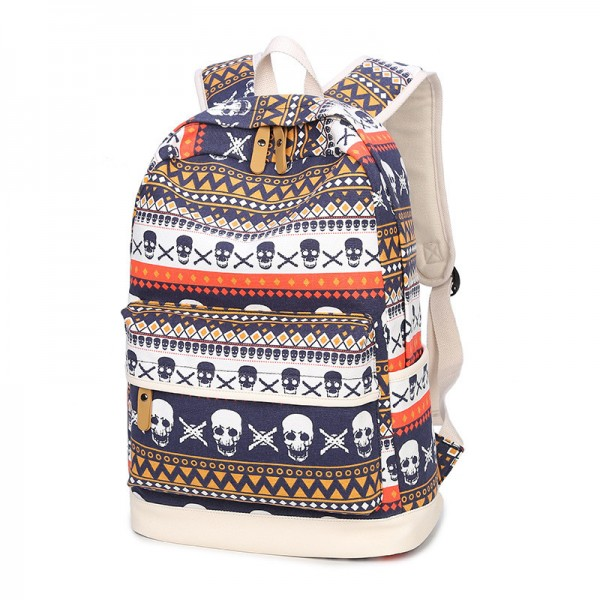 Fashion Skull Printed Backpacks Teenage Canvas School Bags Designer Female Large Capacity Travel Ladies Bags Extra Image 2