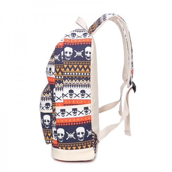 Fashion Skull Printed Backpacks Teenage Canvas School Bags Designer Female Large Capacity Travel Ladies Bags Extra Image 3
