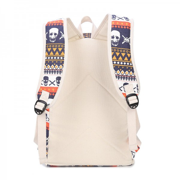 Fashion Skull Printed Backpacks Teenage Canvas School Bags Designer Female Large Capacity Travel Ladies Bags Extra Image 4
