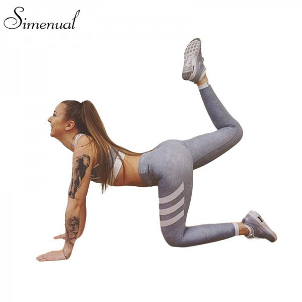 Fashion Striped Leggings Fitness Pants Sexy Slim Push Up Elastic Jeggings For Women Tights For Ladies Thumbnail