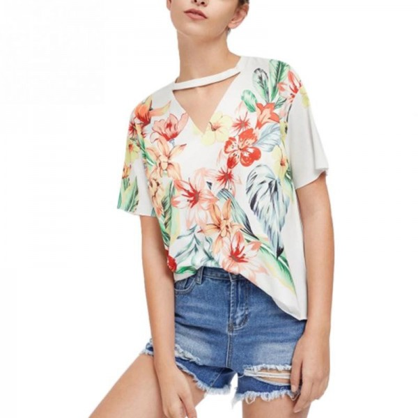 Fashion Summer Tshirt 2018 Floral Print Short Sleeve T Shirt Women Casual T Shirt Female Floral Top Tees Cute Girl Tees Extra Image 1