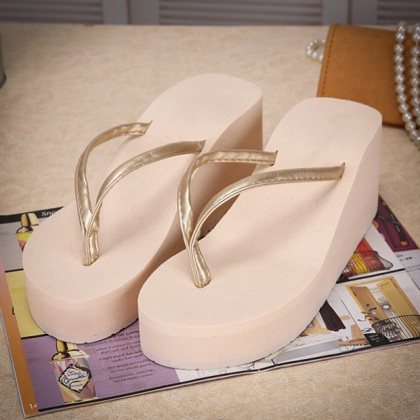 Fashion Summer Womens High Heel Flip Flops Slides New Casual Solid Platform Slippers for Woman Size 35 40 Extra Image 3