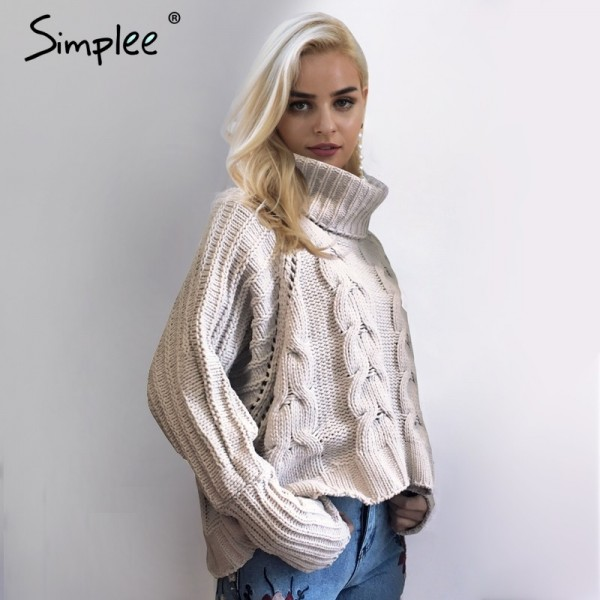 Fashion Turtleneck knitted pullover sweater Women hollow out soft jumper pull femme Autumn winter warm knitting sweater
