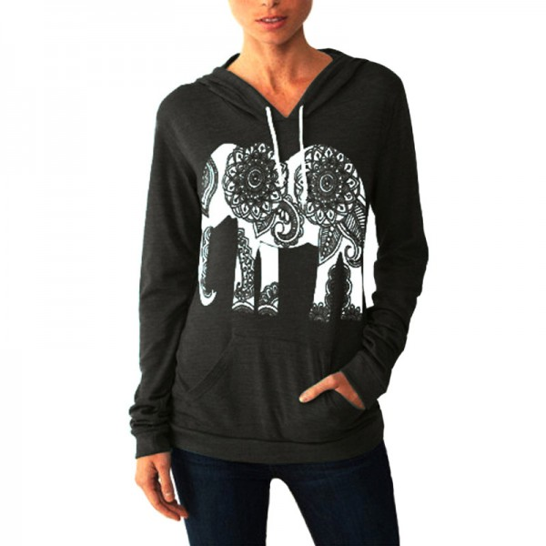 Fashion Women Hoodies Long Sleeve Print Elephant Sweatshirt Casual Basic Mujer Hoodies Extra Image 2