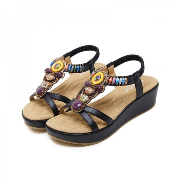 Fashion Women Sandals Summer Bohemia Shoes Wedges Girl Bead Middle Heel Sandals 2019 Extra Image 1