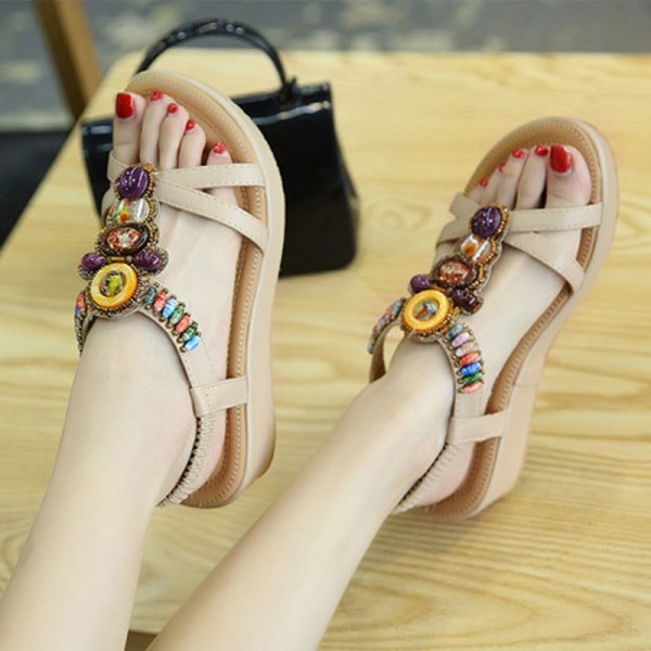 Fashion Women Sandals Summer Bohemia Shoes Wedges Girl Bead Middle Heel Sandals 2019 Extra Image 3