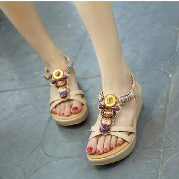 Fashion Women Sandals Summer Bohemia Shoes Wedges Girl Bead Middle Heel Sandals 2019 Extra Image 5