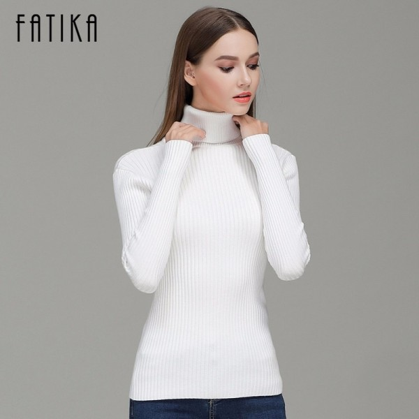 Fashion Women Turtleneck Full Sleeve Brief Slim Pullovers Solid Elegant Knitted Skinny Sweater Jumpers For Ladies Extra Image 2
