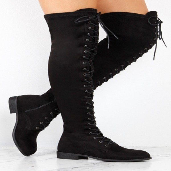 Fashion Womens Round Head Crossed Over The Knee Boots Belt Side Zipper Boots Winter Lace Up Boots Extra Image 2