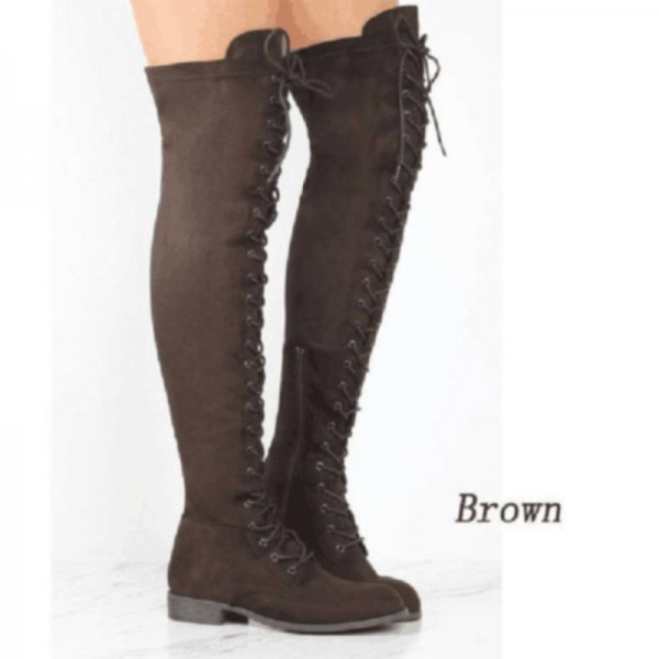Fashion Womens Round Head Crossed Over The Knee Boots Belt Side Zipper Boots Winter Lace Up Boots Extra Image 4