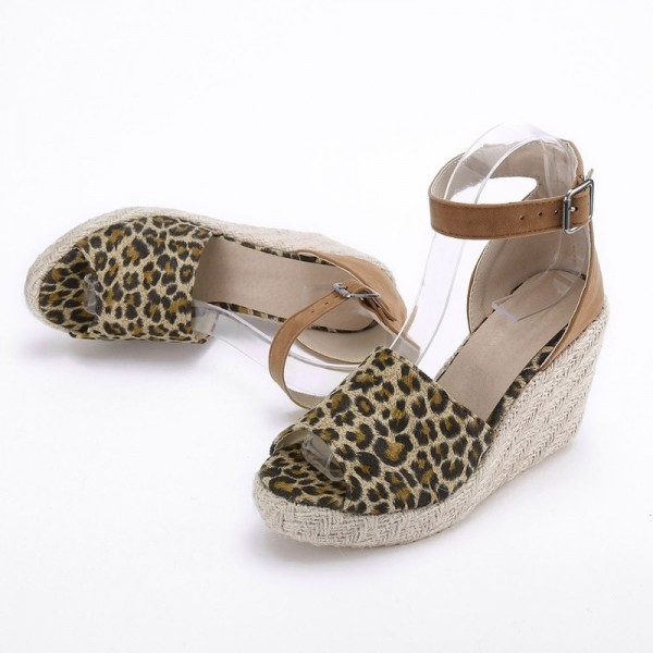 Fashion Womens Sweet High Heel Wedge Platform Sandals Leopard Printed Buckle Ankle Shoes For Ladies