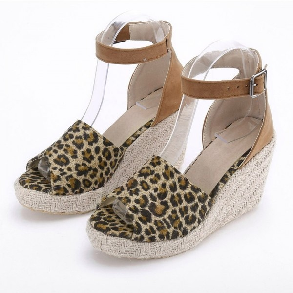Fashion Womens Sweet High Heel Wedge Platform Sandals Leopard Printed Buckle Ankle Shoes For Ladies Extra Image 4