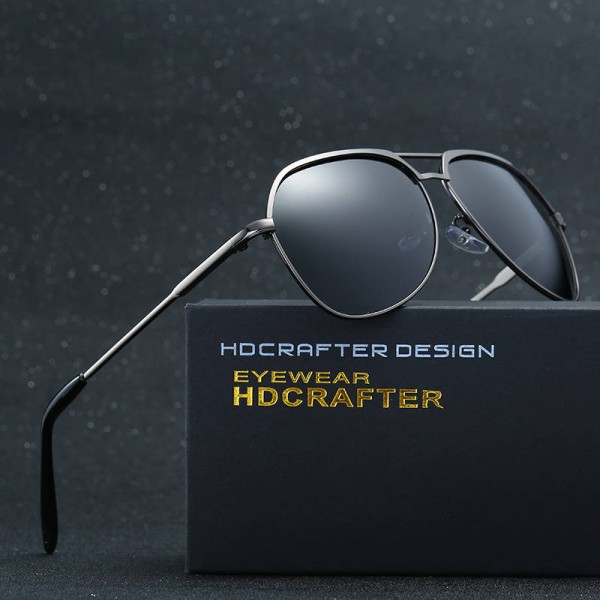 Fashionable Metal Sunglasses HD Crafter Men Reflective Square Polarized UV400 Eyewear Alloy Frame Shades Extra Image 2