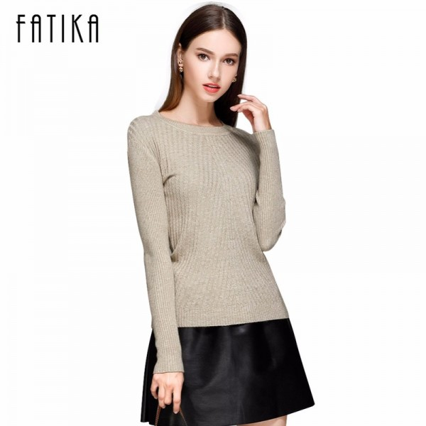 FATIKA Womens Autumn Winter Cashmere Blended Sweater O Neck Pullovers Long Sleeve Jumpers Women Knitted Sweaters Extra Image 1