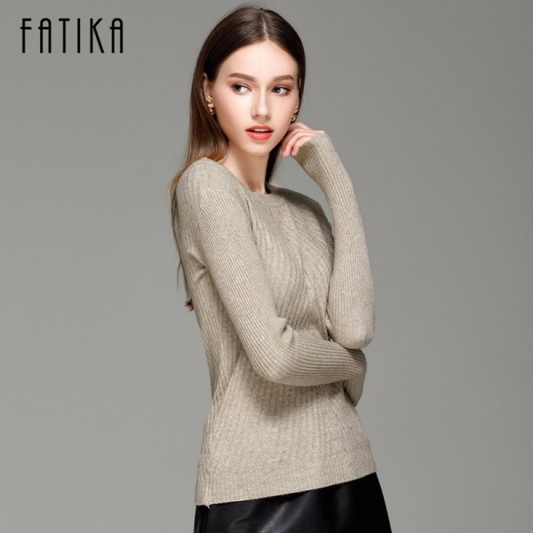 FATIKA Womens Autumn Winter Cashmere Blended Sweater O Neck Pullovers Long Sleeve Jumpers Women Knitted Sweaters