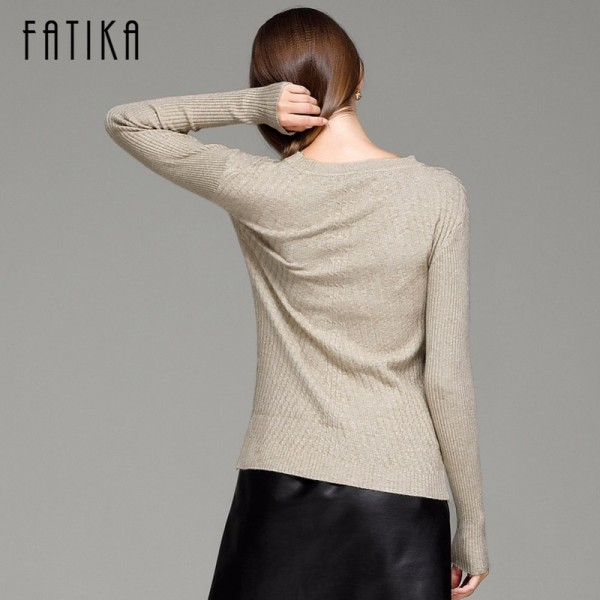 FATIKA Womens Autumn Winter Cashmere Blended Sweater O Neck Pullovers Long Sleeve Jumpers Women Knitted Sweaters Extra Image 3