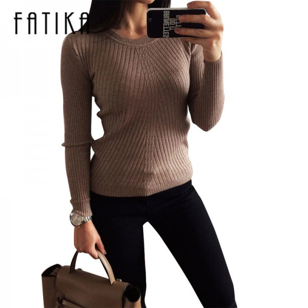FATIKA Womens Autumn Winter Cashmere Blended Sweater O Neck Pullovers Long Sleeve Jumpers Women Knitted Sweaters Extra Image 4
