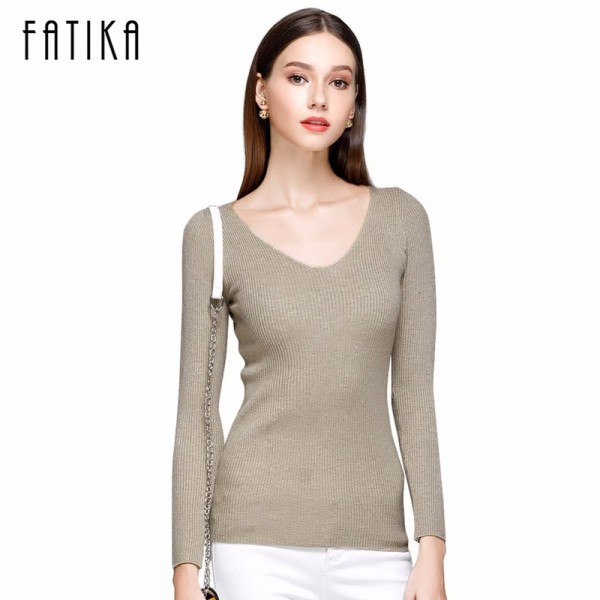FATIKA Womens Autumn Winter Cotton Blend Sweater V Neck Pullovers Long Sleeve Jumpers Womens Knitted Sweaters Extra Image 1