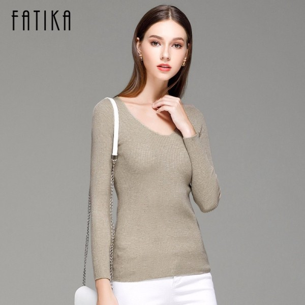 FATIKA Womens Autumn Winter Cotton Blend Sweater V Neck Pullovers Long Sleeve Jumpers Womens Knitted Sweaters Extra Image 2