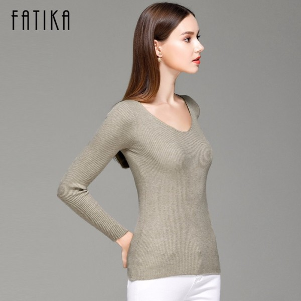FATIKA Womens Autumn Winter Cotton Blend Sweater V Neck Pullovers Long Sleeve Jumpers Womens Knitted Sweaters Extra Image 5