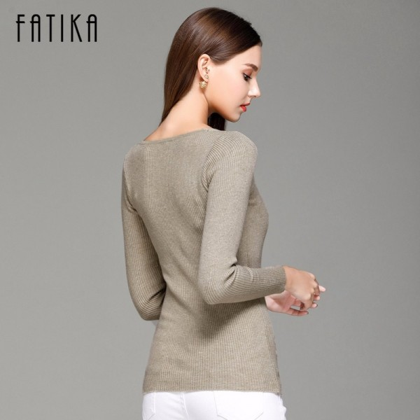 FATIKA Womens Autumn Winter Cotton Blend Sweater V Neck Pullovers Long Sleeve Jumpers Womens Knitted Sweaters Extra Image 6