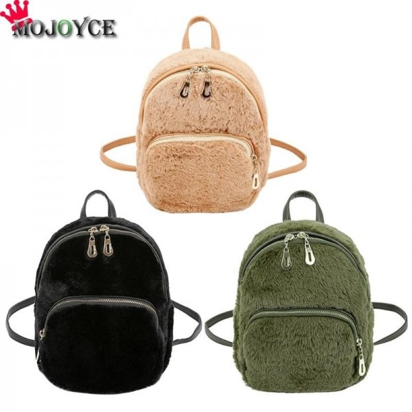 Faux Fur Backpacks School Bags For Girls Rabbit Hair Daypack Scholar Shoulder Bags Soft Plush Rucksack Backpack Extra Image 2