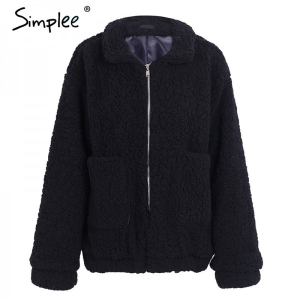 Faux lambswool oversized jacket coat Winter black warm hairly  jacket Women autumn outerwear new female overcoat Extra Image 5