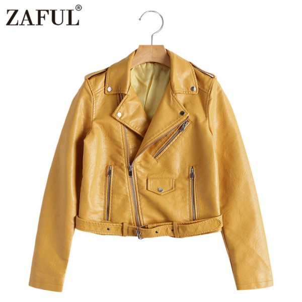faux leather jackets women zipper pockets belted soft motorcycle jacket sexy punk coat ladies casual outwear tops Extra Image 4