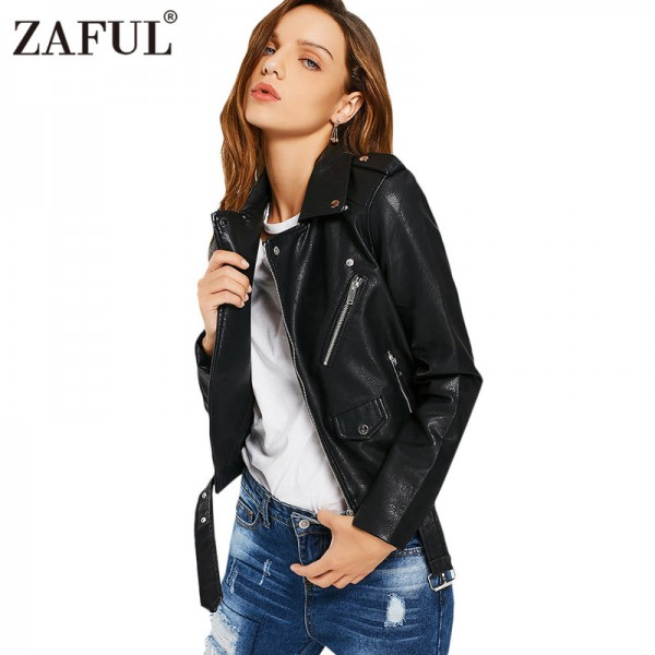 faux leather jackets women zipper pockets belted soft motorcycle jacket sexy punk coat ladies casual outwear tops Extra Image 5