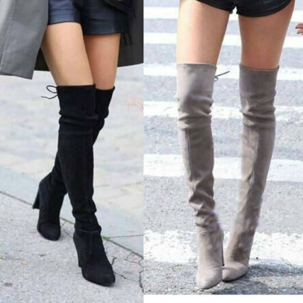 Faux Suede Slim Sexy Boots Knee High Snow Boots Winter High Thigh