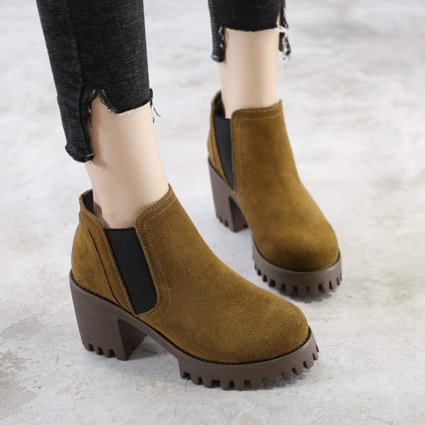 Female Ankle Boots High Quality Leather Shoes Pointed Toe Mid Heel Ankle Boots Short Spring Autumn Shoes For Women Extra Image 2