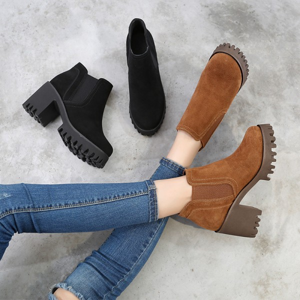 Female Ankle Boots High Quality Leather Shoes Pointed Toe Mid Heel Ankle Boots Short Spring Autumn Shoes For Women Extra Image 3