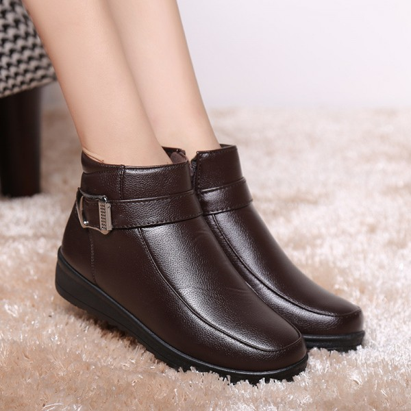 Female Formal Boots Warm Winter Shoes  High Quality Pu Leather Snow Boots Short Plush Ladies Female Shoes Extra Image 6