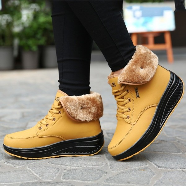Female shoes plus velvet swing shoes woman platform snow boots women thermal cotton padded flat ankle boots women Extra Image 1