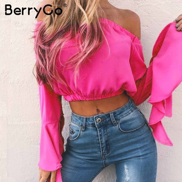 Flare sleeve off shoulder blouse shirt Summer sexy chiffon soft cool blouse blusas Casual blouse women tops streetwear Extra Image 3